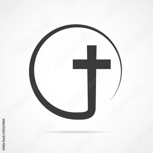 Carta da parati Black christian cross icon. Vector illustration.