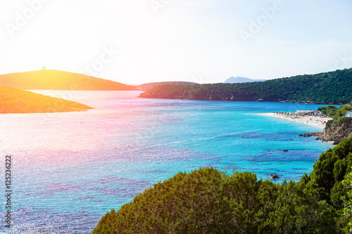 Photo  Panoramic view of paradise beach with white sand and multicolor sea