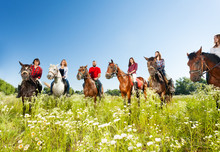 Big Group Of Horseback Riders In Flowery Meadow