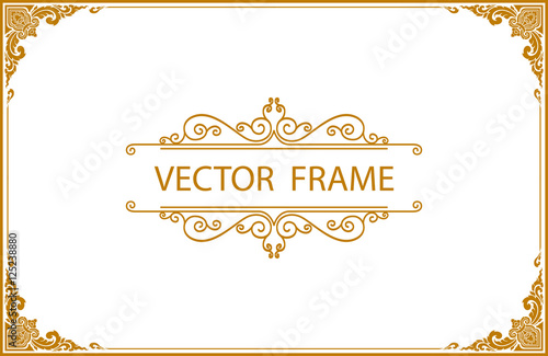 фотографія  Gold photo frame with corner line floral for picture, Vector design decoration pattern style