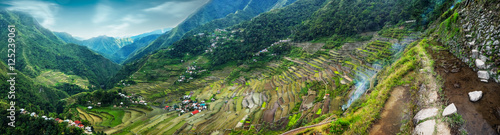 Garden Poster Rice fields Amazing panorama view of rice terraces fields in Ifugao province mountains under cloudy blue sky. Banaue, Philippines UNESCO heritage