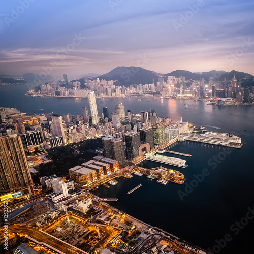 Garden Poster London Evening aerial view panorama of Hong Kong skyline and Victoria Harbor. Travel destinations