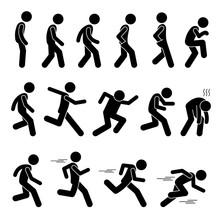 Various Human Man People Walking Running Runner Poses Postures Ways Stick Figure Stickman Pictogram Icons