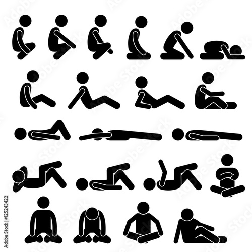 Fotografie, Obraz  Various Squatting Sitting Lying Down on the Floor Postures Positions Human Man P