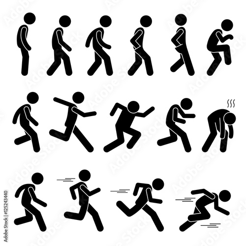 Foto  Various Human Man People Walking Running Runner Poses Postures Ways Stick Figure