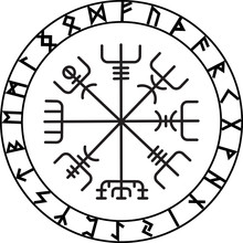 Vegvisir, The Magic Navigation Compass Of Ancient Icelandic Vikings With Scandinavian Runes