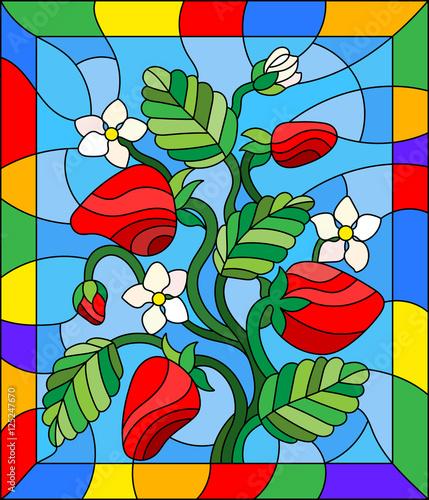 ilustracja-w-stylu-witrazu-z-kwiatow-jagod-i-lisci-truskawki