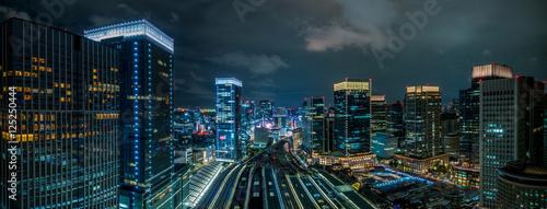 Fotografia 東京駅上空の夜景 パノラマ