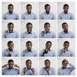 Mosaic of handsome dark-skinned man wearing blue chekered shirt expressing different emotions. Collage of young businessman or office worker with diverse face expressions, gesturing in studio
