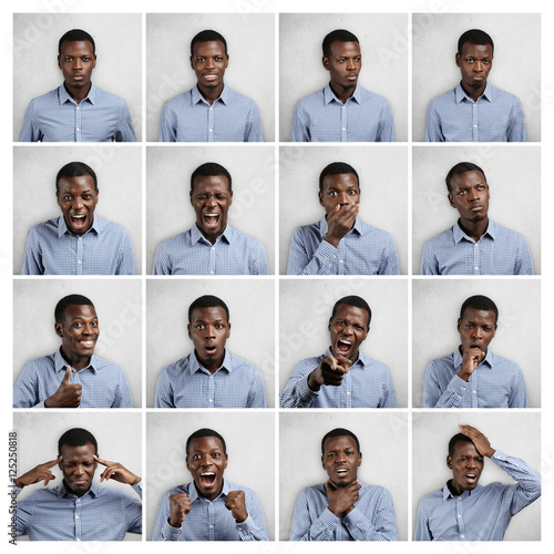 Mosaic of handsome dark-skinned man wearing blue chekered shirt expressing different emotions Fototapet