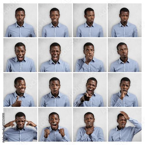 Fényképezés Mosaic of handsome dark-skinned man wearing blue chekered shirt expressing different emotions