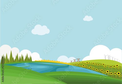 Canvas Prints Light blue flat landscape