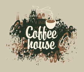 Fototapeta vector banner with the inscription coffee house with a cup on a background of splashing and stains in old town