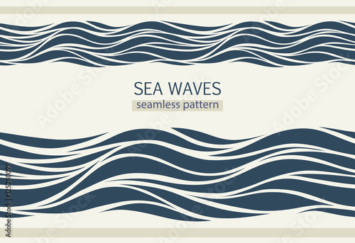 Fotobehang Abstract wave Seamless patterns with stylized waves
