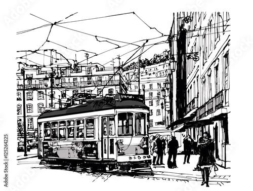 Aluminium Prints Art Studio Tramway in lisbon