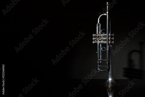 Obraz na płótnie trumpet, wind instrument / lonely musical instrument which is a trumpet on a bla