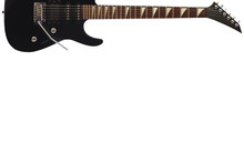 Black Electric Rock Guitar At The Top Of The White Background, With Plenty Of Copy Space.