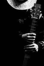 Musician Holding Guitar, Black And White Filter For Music Background
