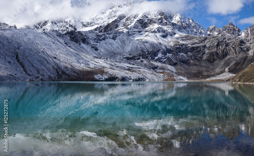 Papiers peints Arctique Himalayas. View from Gokyo Ri, 5360 meters up in the Himalaya Mountains of Nepal, snow covered high peaks and lake not far from Everest
