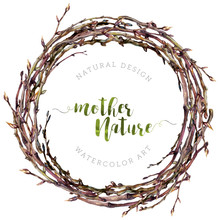 Watercolor Boho Wreath Made Of Dry Twigs