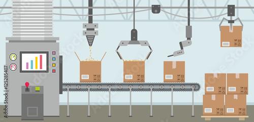 Cuadros en Lienzo Conveyor system in flat design