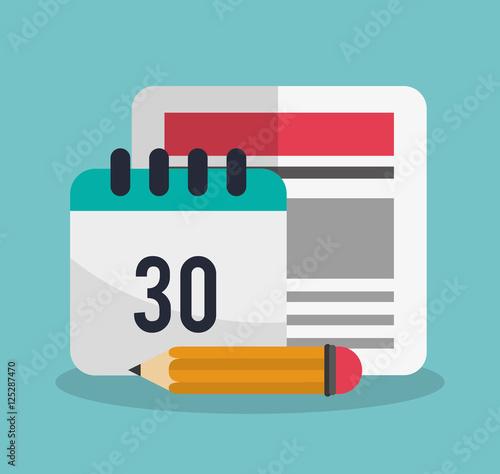 Calendar Design Icon : Calendar document and pencil icon plannet month date