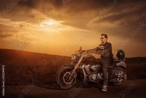 Fototapeta  Motorbike Rider On Road