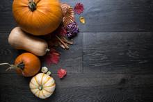 Pumpkins On Dark Wood