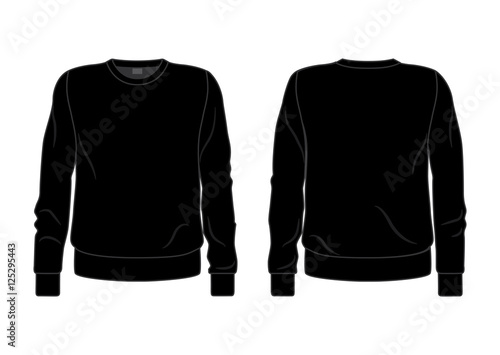 Black Men S Sweatshirt Template Front And Back View