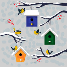 Winter Illustration. Happy Birds With Colorful Snow Covered Nesting Boxes On Branch. Vector Birdhouse. Christmas And New Year Postcard.