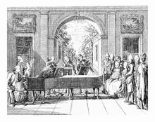 XVIII Century Engraving, Music Entertainment In Beautiful Renaissance Architecture And Garden