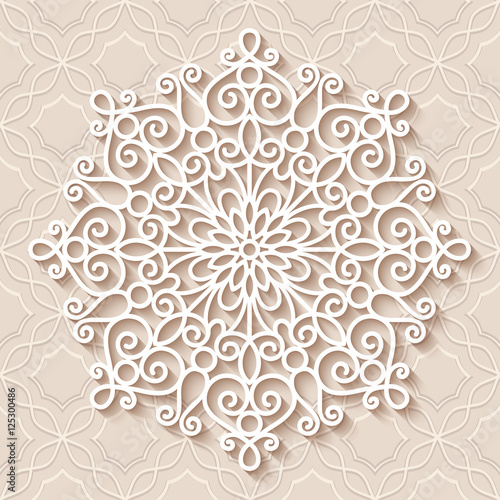 Fotografia, Obraz  Round lace doily, round crochet ornament