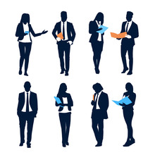 Business People Set Team Crowd Silhouette Businesspeople Group Hold Document Folders Flat Vector Illustration