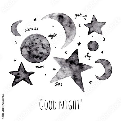 Karty z pozdrowieniami z gwiazdami i księżycamiŚ