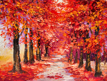 Oil Painting, Colorful Autumn Trees, Impressionism Art