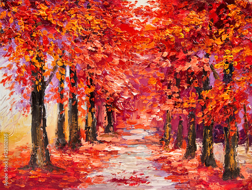 Ingelijste posters Rood traf. Oil painting, colorful autumn trees, impressionism art
