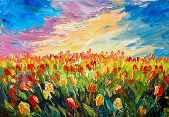 Panel Szklany Florystyczny oil painting, tulips on a background of beautiful sunrise, impressionism art