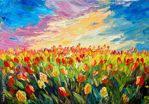 oil painting, tulips on a background of beautiful sunrise, impressionism art - 125303235