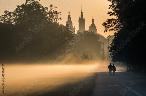 Fototapeta Unidentified men silhouettes in the mist, Blonia meadow in Krakow, Poland, with St Mary's church and Town Hall towers in the background. obraz