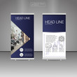 Roll Up Banner Stand, template and info graphics, banner stand design. Vector.