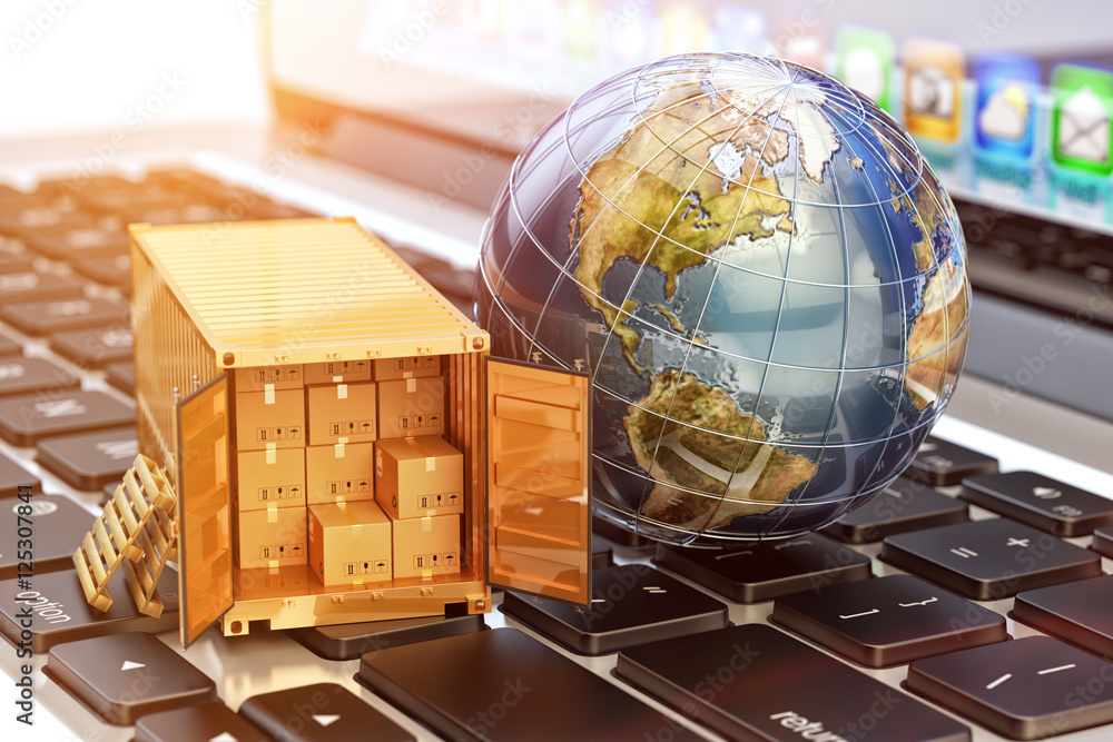 Fototapeta Internet shopping and e-commerce, package delivery concept, global freight transportation business, cargo container with cardboard boxes and Earth globe on laptop