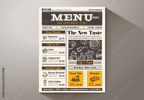 newspaper caf u00e9 menu  buy this stock template and explore
