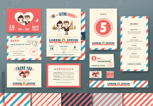 Airmail Wedding Invitation Set Buy This Stock Template And Explore