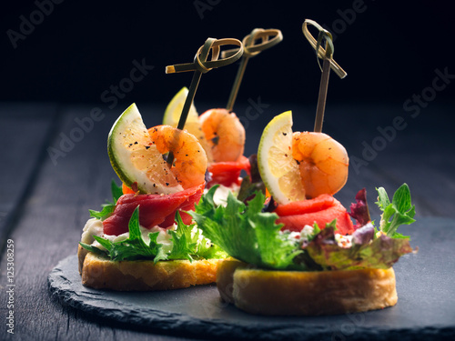Toasted Canape with Shrimp and Salmon