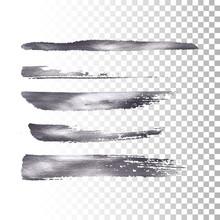 Silver Metallic Paint Brush Stroke Set.