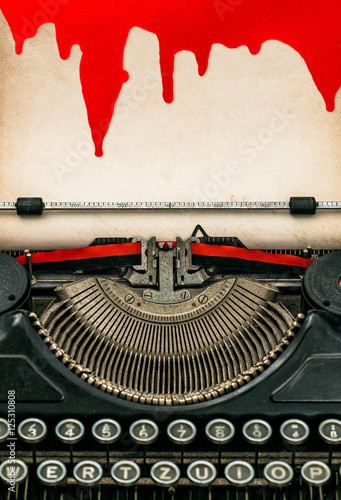 Deurstickers Retro Antique typewriter paper sheet with blood Halloween concept