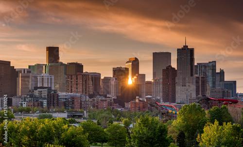 Denver Colorado skyline with sun star reflection