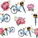 Akwarela kwiatowy i rowerowy wzór na białym tle. Ilustracja dla projekta, tkaniny, druku i tła. - 125311238