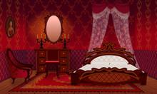 Bedroom Cartoon Interior House Apartment. Retro Interior In Victorian Style.