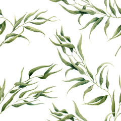 FototapetaWatercolor eucalyptus leaves seamless pattern on white background. Floral texture for design, textile and background.